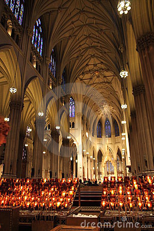 New York cathedral with candles