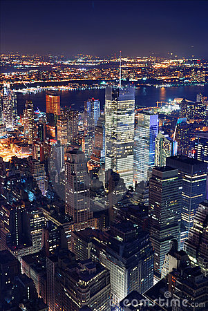 New York City Aerial View At Night Royalty Free Stock