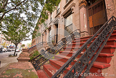 New York City Brownstone Apartments Editorial Stock Photo