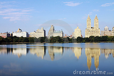 New York City buildings reflecting in the water
