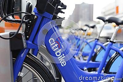 New York City cykel som delar stationen Redaktionell Arkivfoto