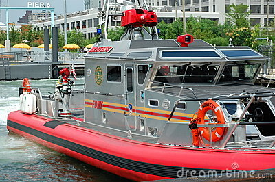 New York City Fire Boat at Pier 6 Editorial Photo