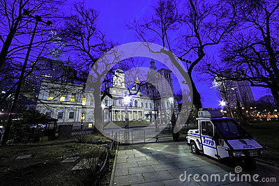 New York City Hall at Night Editorial Photography