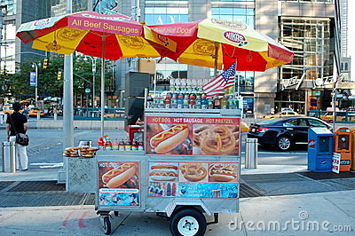 New York City Hot Dog Cart Editorial Photography