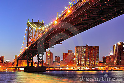 New York City Manhattan Bridge over East River