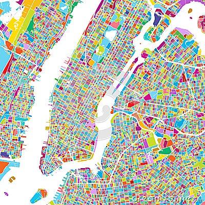 Cartoon Map Of New York City.New York City Manhattan Colorful Map Cartoon Vector Cartoondealer