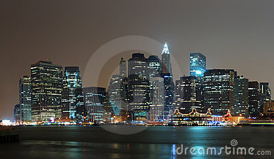 New York City Manhattan night scene panorama