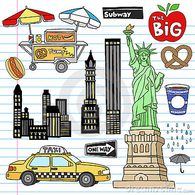 Free New York City Manhattan Notebook Doodle Vector Set Royalty Free Stock Photos - 23104278