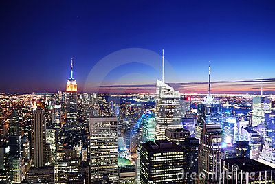 New York City Manhattan skyline sunset