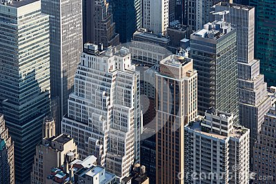 New York City Manhattan skyscrapers aerial view in the morning Stock Photo