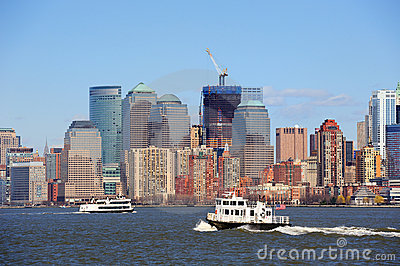 New York City Manhattan skyscrapers and boat