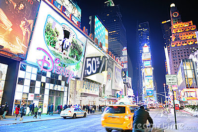 New York City Manhattan Time Square night Editorial Photography