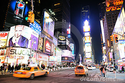 New York City Manhattan Time Square night Editorial Image