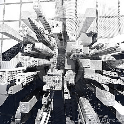 New York City (rendered, white, wire mesh)