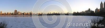 New York City  reservoir in panoramic