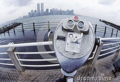 New York City Skyline with binocular viewer
