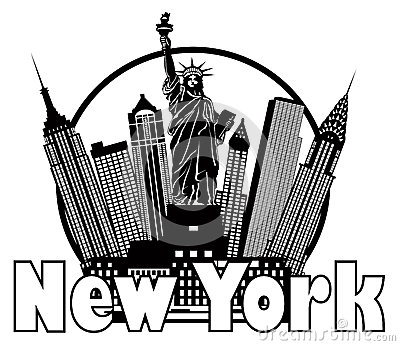 New York City Skyline Black and White Circle Vector Illustration Vector Illustration