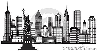 New York City Skyline Black and White Illustration Vector Vector Illustration