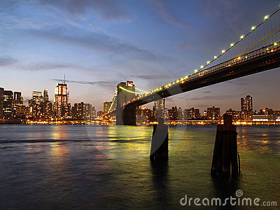 New York City Skyline and brooklyn bridge