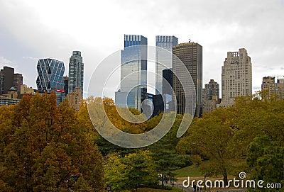 New York City skyline and Central Park in Autumn