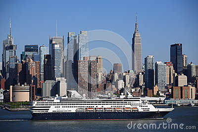 New York City Skyline and Cruise Ship Editorial Stock Image
