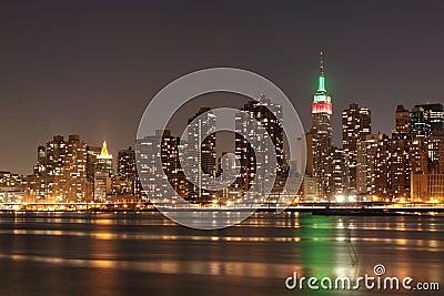 New York City skyline at Night Lights Editorial Photo