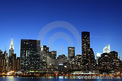 New York City skyline at Night Lights