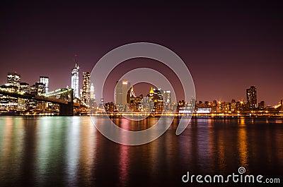 New York City skyline by night.