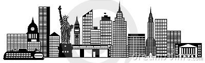 New York City Skyline Panorama Black and White Silhouette Clip Art ...