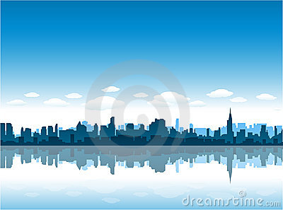 New York City skyline reflect on water