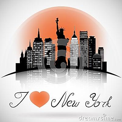 New York City skyline with reflection. eps 10 vector Vector Illustration