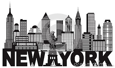 New York City Skyline and Text Black and White Illustration Vector Illustration
