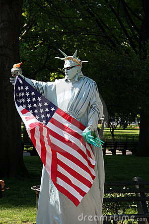 New York City: Statue of Liberty Mime Editorial Image