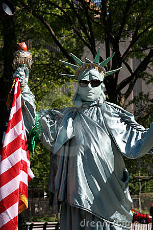 New York City: Statue of Liberty Mime Editorial Photography