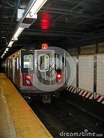 Free New York City Subway Train Entering Station Stock Photos - 252563