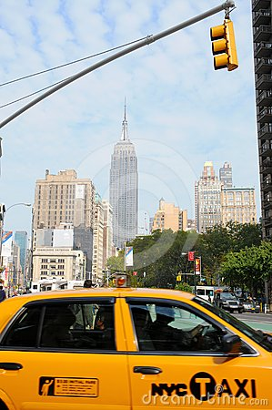 New York City Taxi, Empire state building Editorial Photo