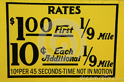 New York City taxi rates decal. This rate was in effect from April 1980 till July 1984.
