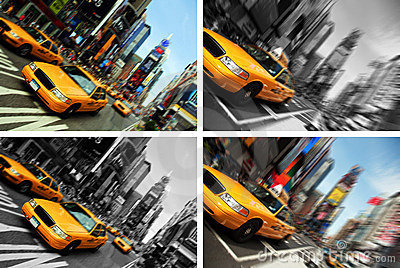 New york city taxi times square, motion blur
