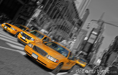 New york city times square, taxi motion blur