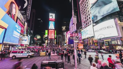 New York City, United States - Mar 31, 2019: Crowded people, car traffic transportation and billboards at Times Square. New York City, United States - Mar 31 stock video
