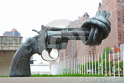 Gun at United Nations Headquarters Editorial Stock Photo