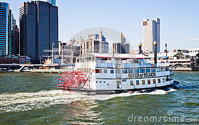 NEW YORK CITY, USA - Paddle Wheel Queen of Hearts steamboat Editorial Photo