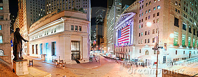 New York City Wall Street panorama Editorial Photo