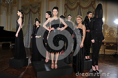 NEW YORK - FEBRUARY 06: Models pose at static presentation for Russian Fashion Industry Reception F/W 2013