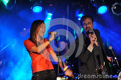 NEW YORK- FEBRUARY 27: Music group  Inside Pocket performs on stage during Russian Rock Festival at Webster Hall Editorial Image