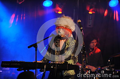 NEW YORK- FEBRUARY 27: Music group TESSA performs on stage during Russian Rock Festival at Webster Hall Editorial Stock Image