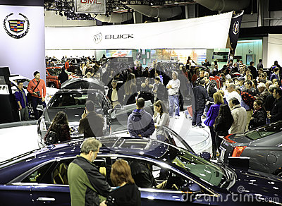 People Attending the New York International Auto Show Editorial Stock Photo