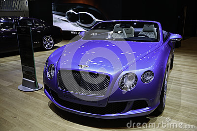 Bentley Continental GT Speed Convertible showcased at the New York Auto Show Editorial Stock Photo