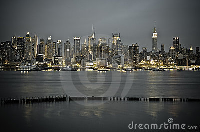 New York Manhattan from JFK Boulevard East Editorial Stock Photo