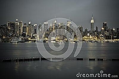 New York Manhattan from JFK Boulevard East Editorial Stock Photo